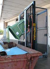 Safe tipping: bin lifter tipping at 800mm